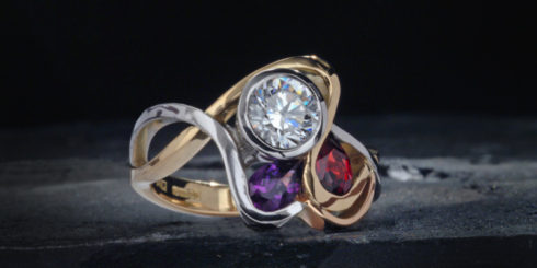Diamond, Amethyst & Garnet Ring
