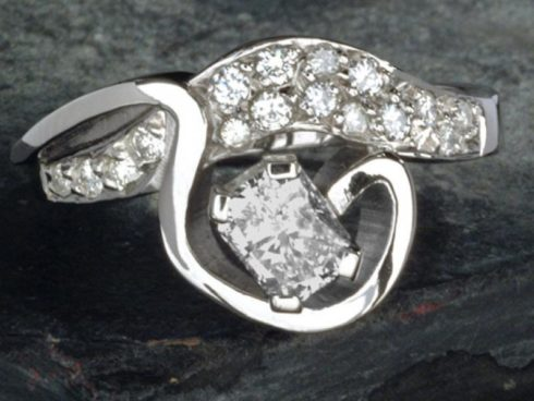 'Wave crest' Diamond Ring