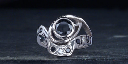 Black Diamond Platinum Ring