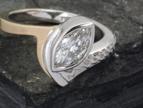 Celtic Engagement Ring with Two Tone Metal