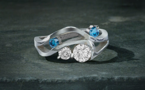 Hebridean Ring with Blue Diamond