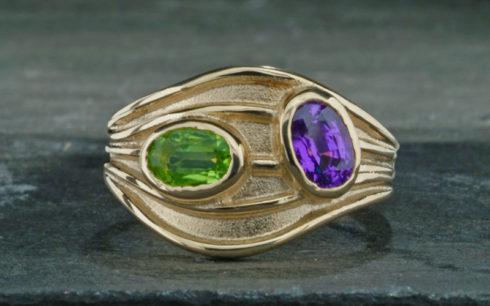 Green & Purple Sapphire Ring
