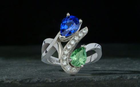 Green & Blue Sapphire Ring