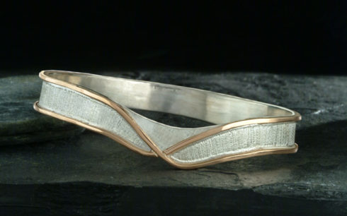 Rose Gold & Silver Textured Bangle