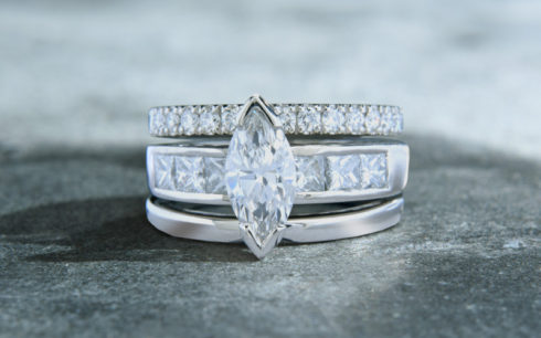 Marquise Diamond with matching Wedding Bands