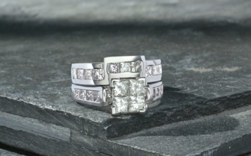 Shaped Wedding Ring with Princess Cut Diamonds
