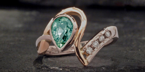 'Pink' Green Sapphire Ring