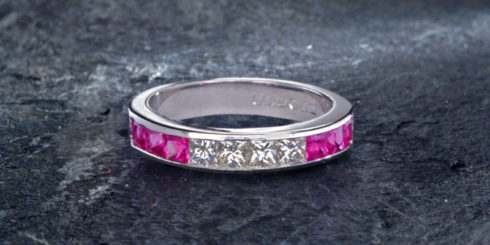 Platinum, Diamond & Pink Sapphire Eternity Ring