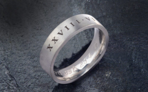Roman Numerals Wedding Band