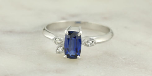 Blue Moon Elongated Sapphire Ring