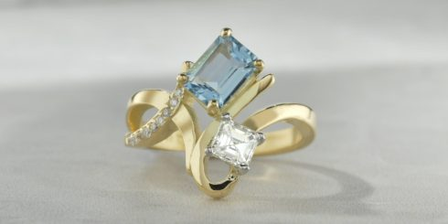 Carrie Aquamarine & Diamond Ring