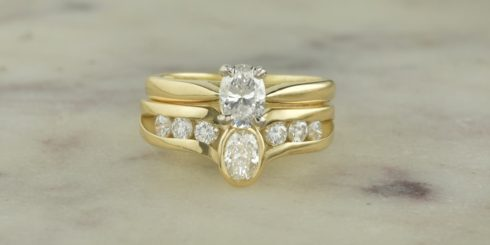 Yellow Gold Diamond and Engagement Ring