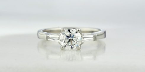 Diamond Engagement Ring with Tapered Baguette Diamonds