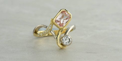 Diamond and Peach Sapphire Dress Ring