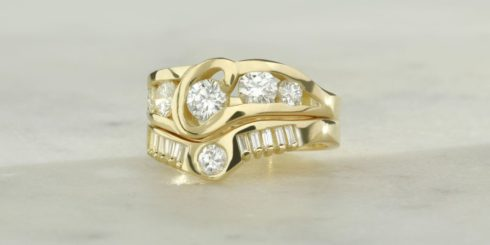 Remodelled Gold Diamond Engagement and Wedding Ring