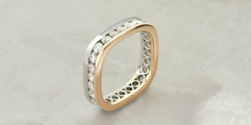 Platinum & Rose Gold Diamond Eternity Band