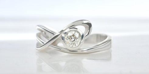 Solitaire 'Clouds' Ring