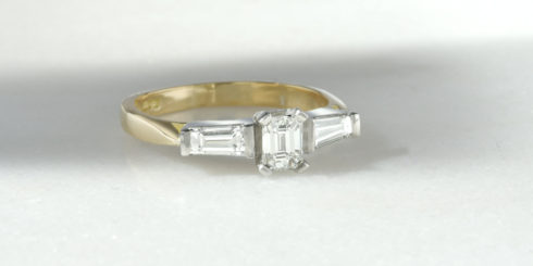 Trilogy Ring with Emerald Cut Diamond & Tapered Baguettes